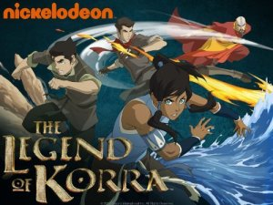 From left to right:  earth-bender Bolin, his brother and fire-bender Mako, Avatar Korra