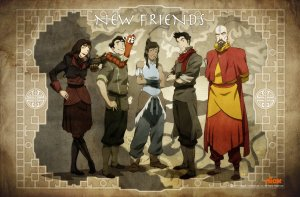 Meet the new Team Avatar: from left to right, Asami, Bolin, Korra, Mako, Tenzin