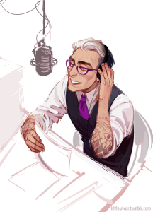 A fan-art representation of Cecil, the voice of Nightvale radio program