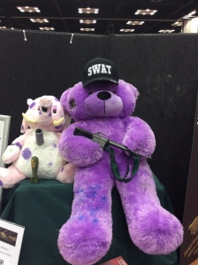 Purple SWAT teddy-bears with assault rifles