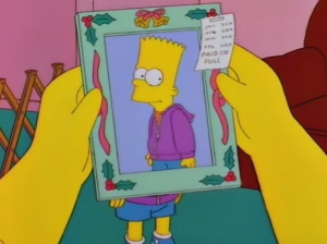 """I wanted to get you something nice for Christmas,"" Bart says apologetically. Notice how the receipt says PAID IN FULL."